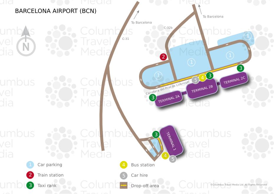 mapa barcelona aeroporto Mapa de aeroportos e terminais de Barcelona mapa barcelona aeroporto
